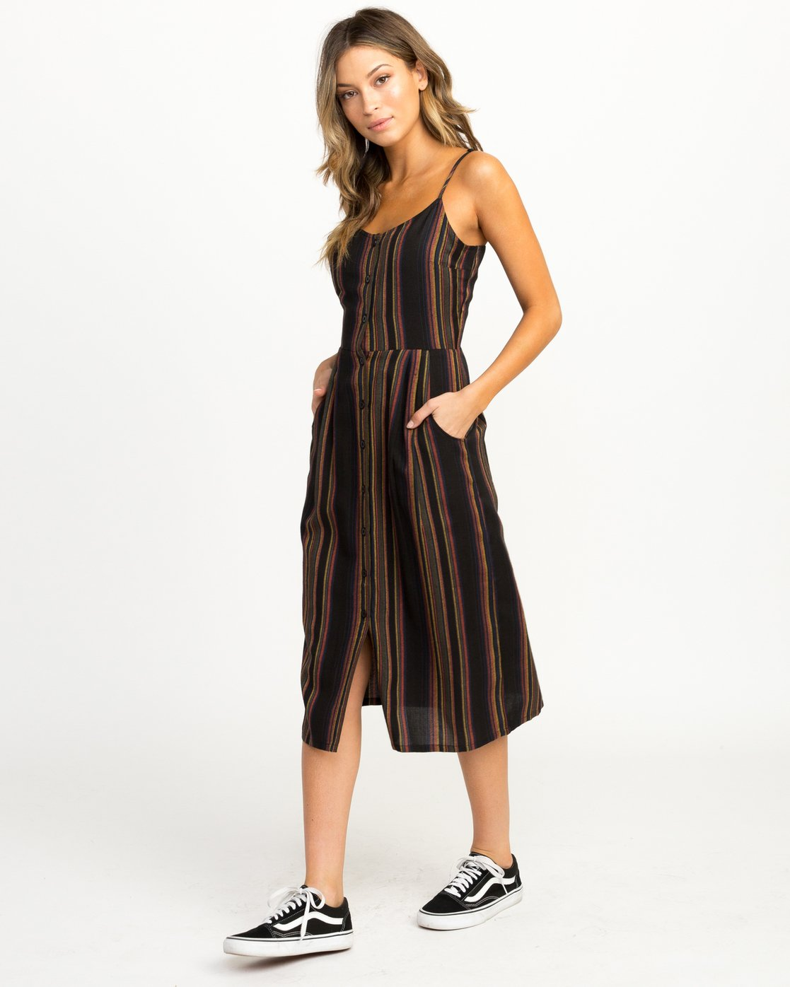 a277cd6f483 2 Medway Striped Midi Dress Black WD13QRME RVCA