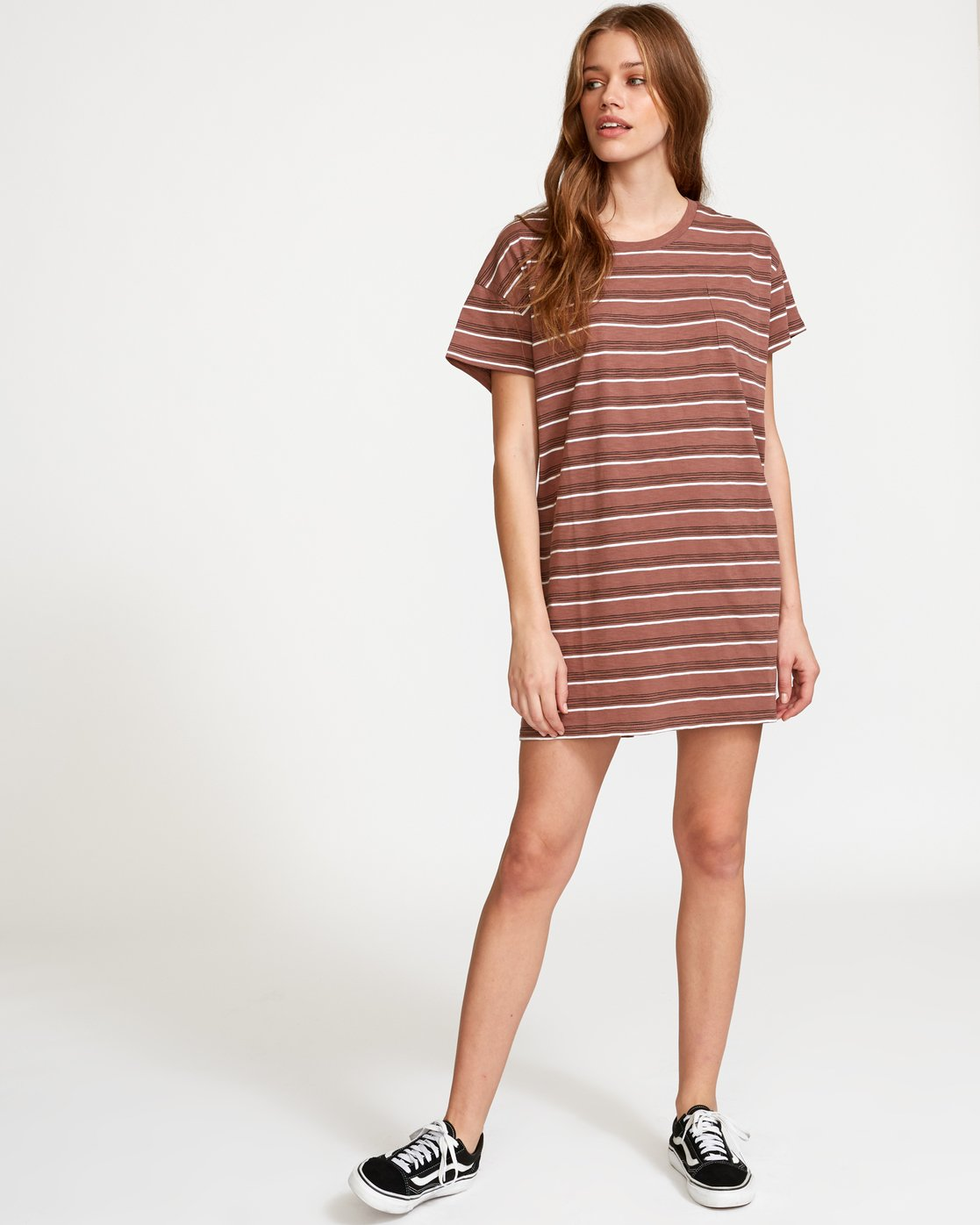 4 Strikeout Striped T-Shirt Dress White WD13VRST RVCA