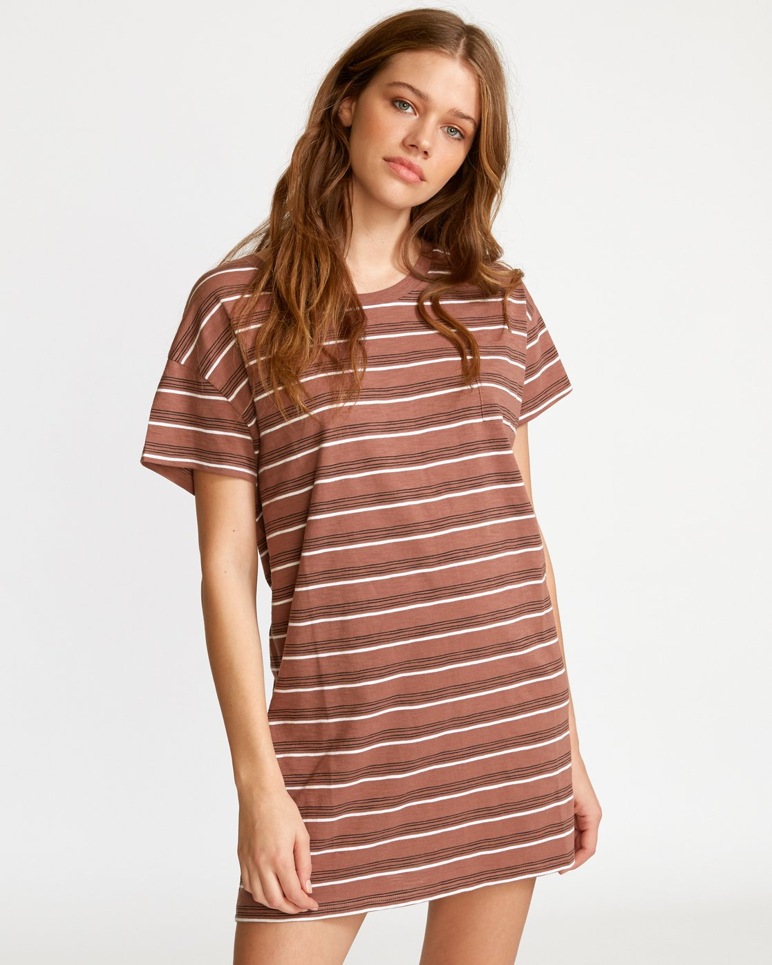 0 Strikeout Striped T-Shirt Dress White WD13VRST RVCA