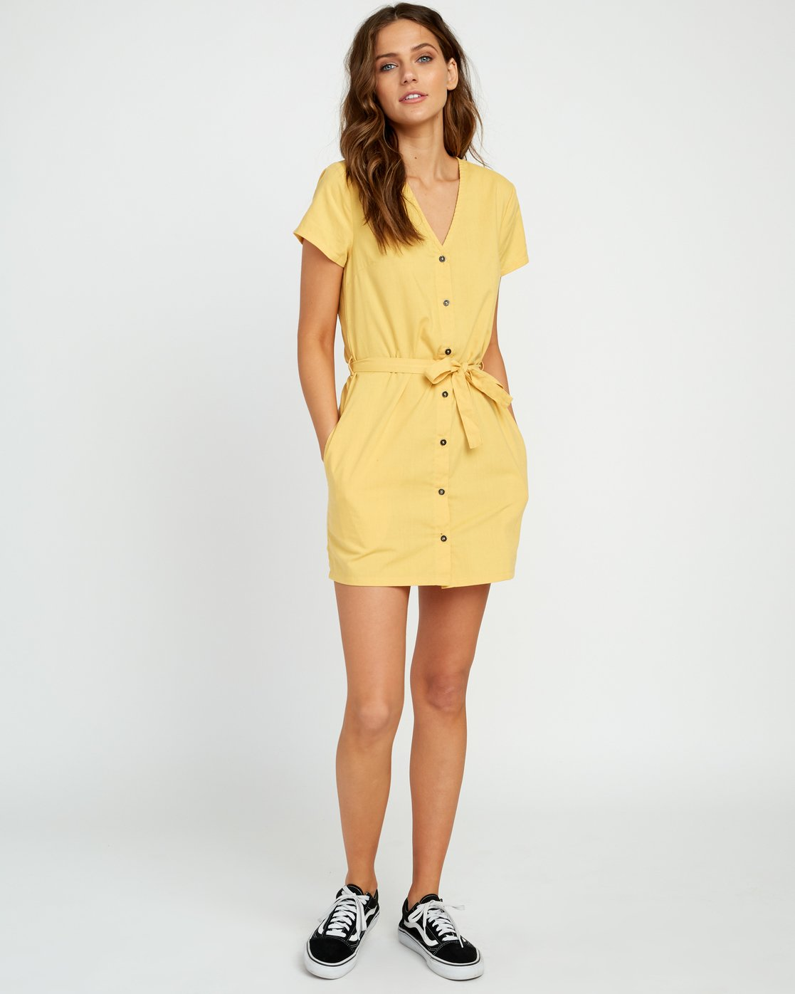 4 Landed Button-Up Dress Yellow WD14URLA RVCA