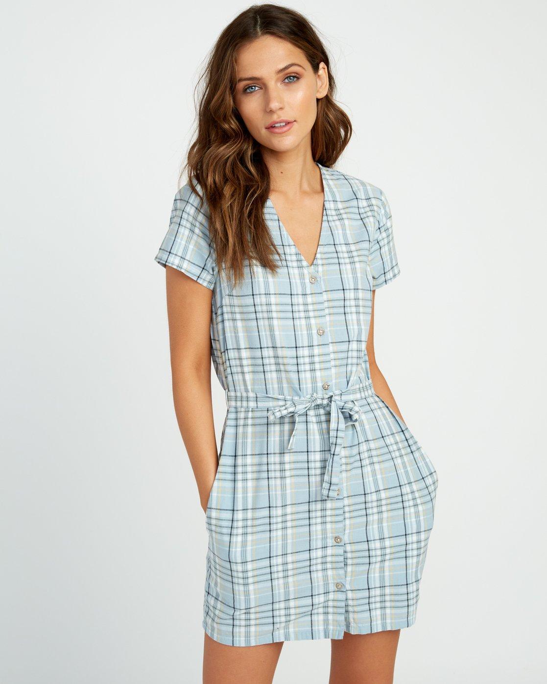 0 Landed Button-Up Dress Blue WD14URLA RVCA