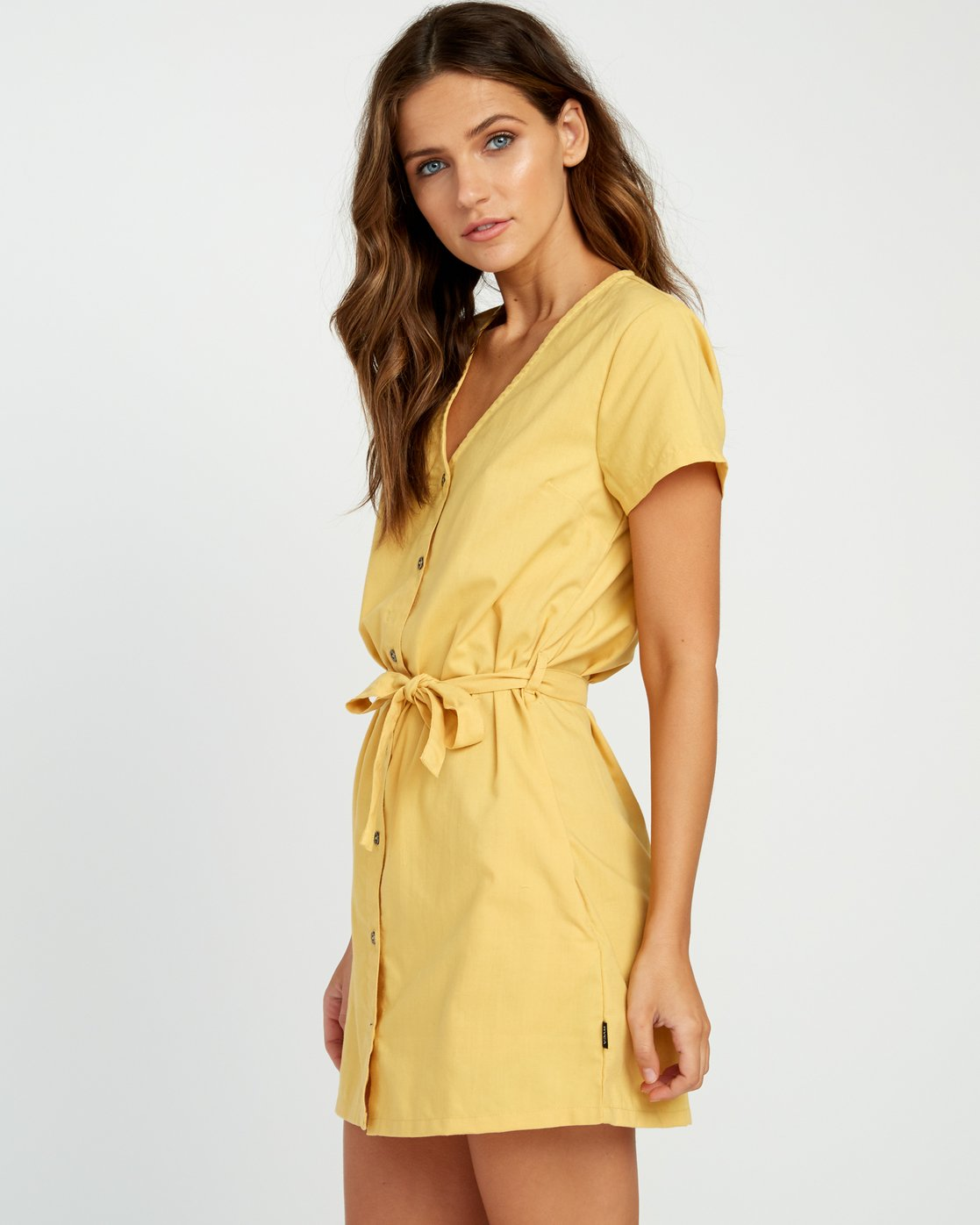 1 Landed Button-Up Dress Yellow WD14URLA RVCA