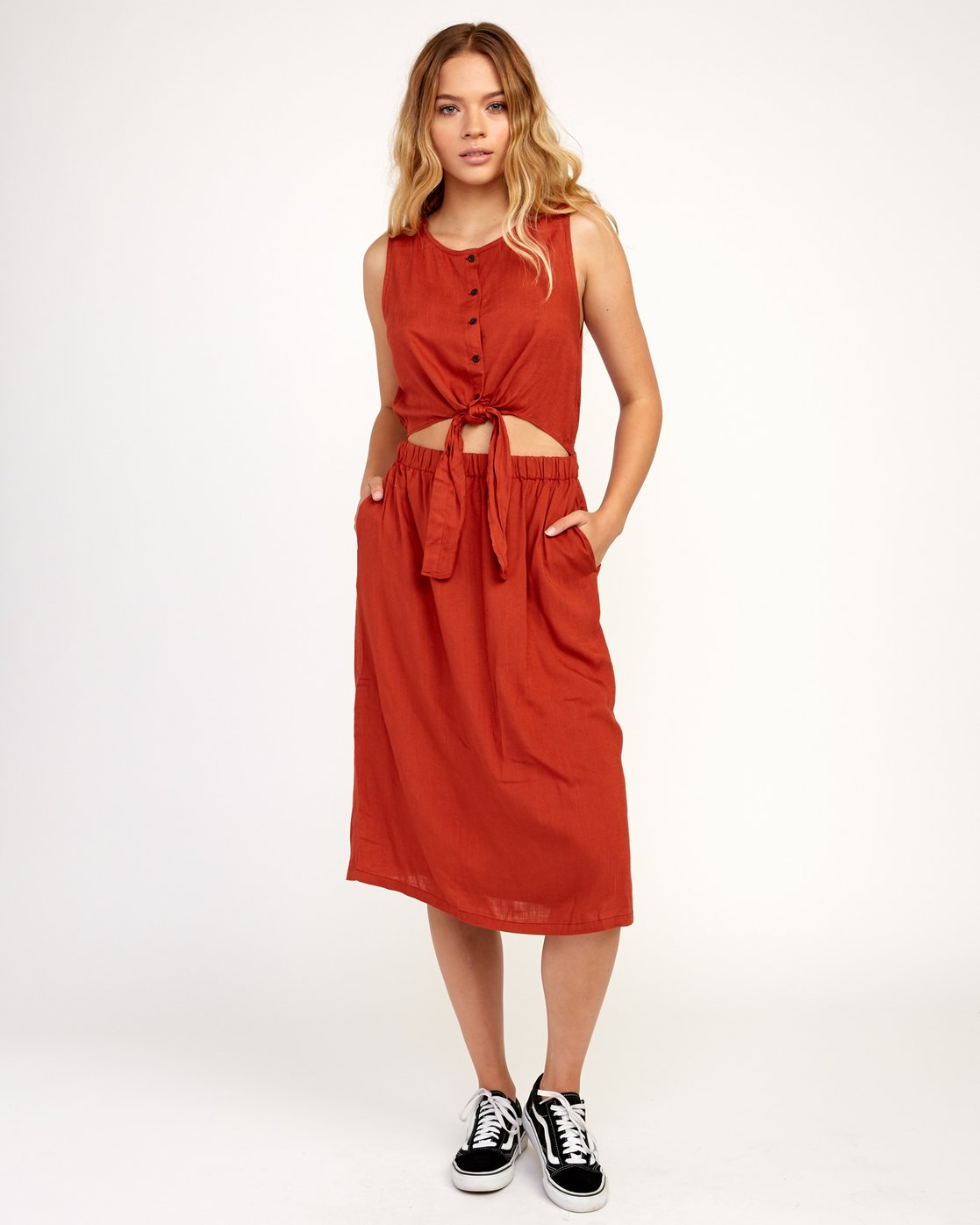 0 Arizona Woven Midi Dress Red WD16TRAR RVCA