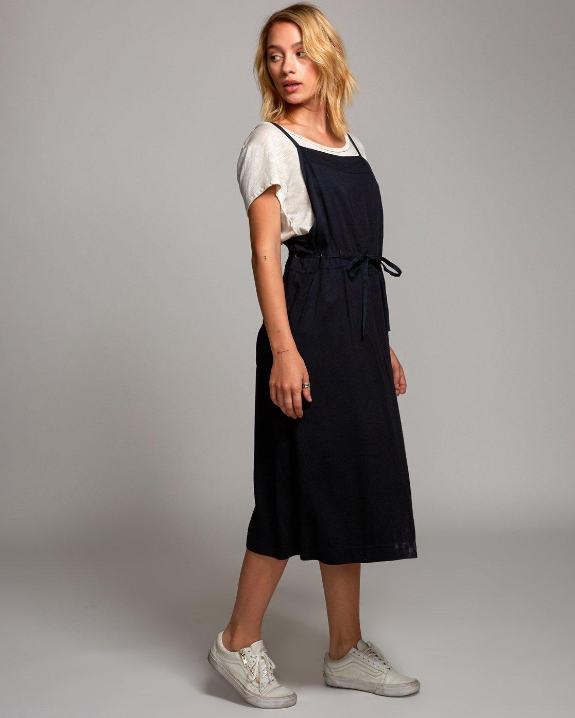 2 Fortune Midi Overall Dress Black WD16URFO RVCA
