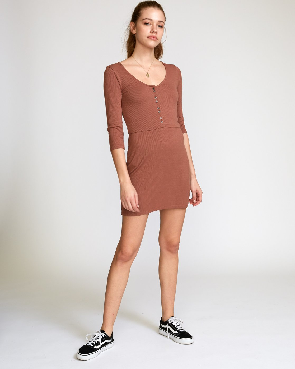 4 Twister Ribbed Long Sleeve Dress Brown WD16VRTR RVCA
