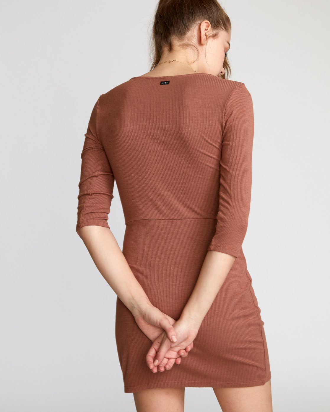 2 Twister Ribbed Long Sleeve Dress Brown WD16VRTR RVCA