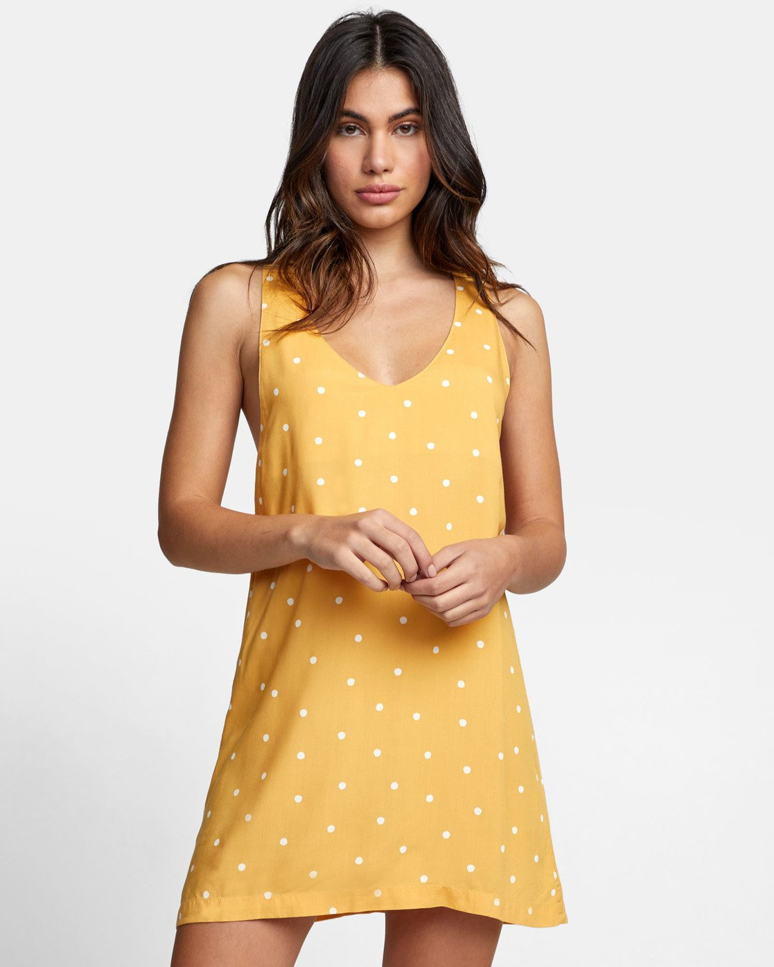 2 BOUNDARY DOT TANK DRESS Yellow WD171RBD RVCA