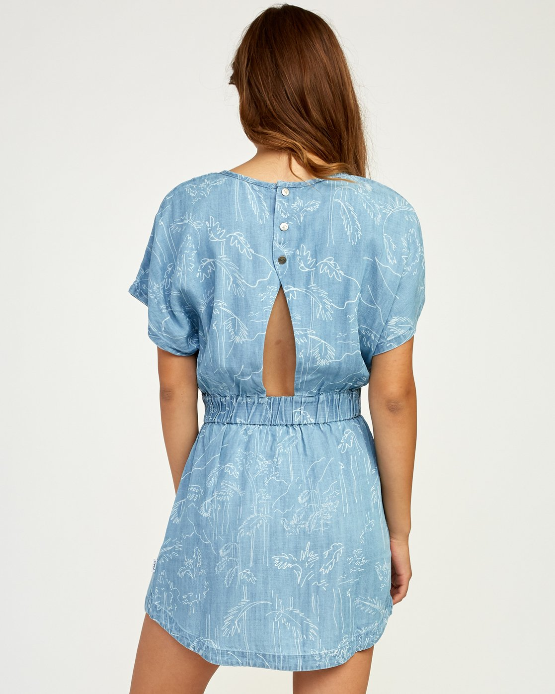 3 Nothing Left Printed Chambray Dress Blue WD17TRNL RVCA