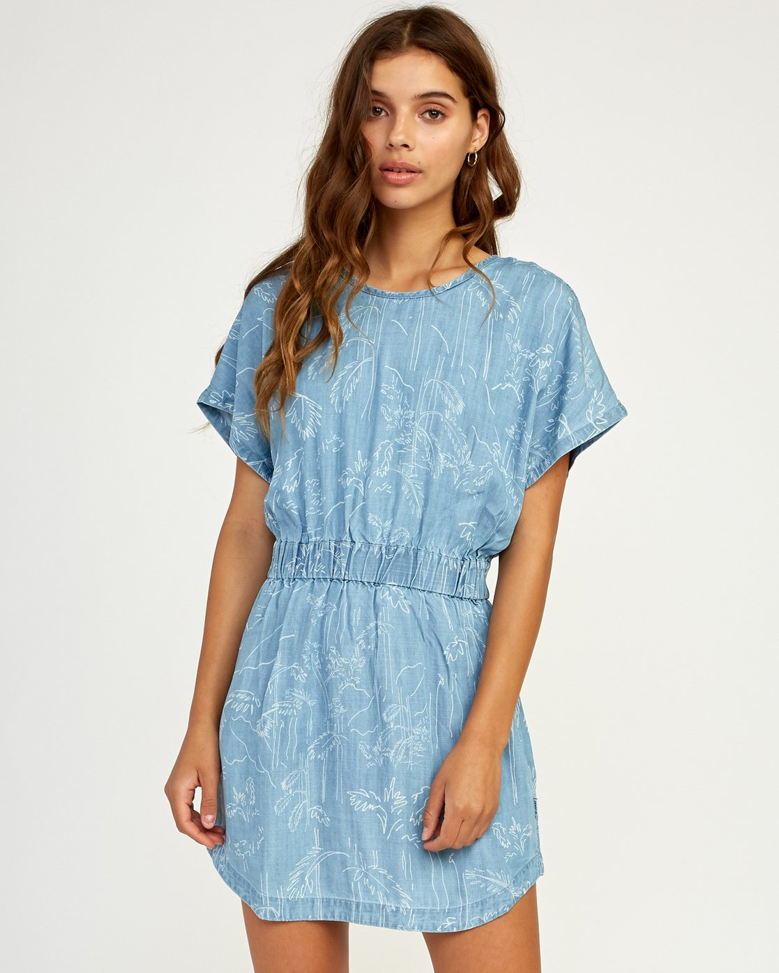 0 Nothing Left Printed Chambray Dress Blue WD17TRNL RVCA