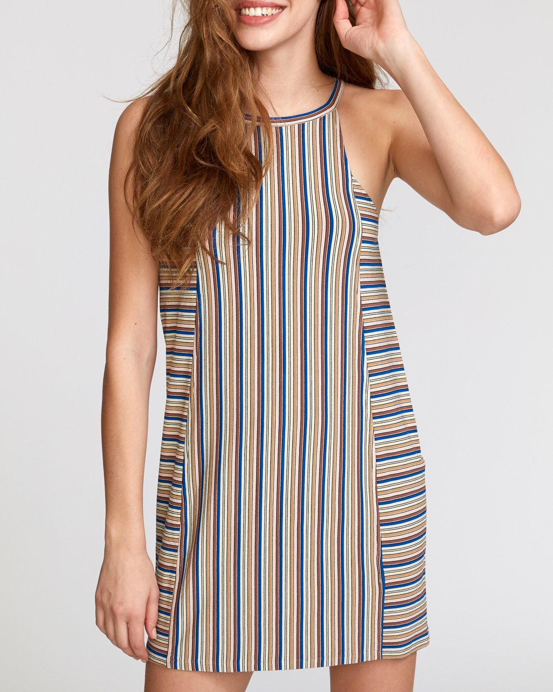 4 Bailey Striped Knit Dress Brown WD17VRBS RVCA