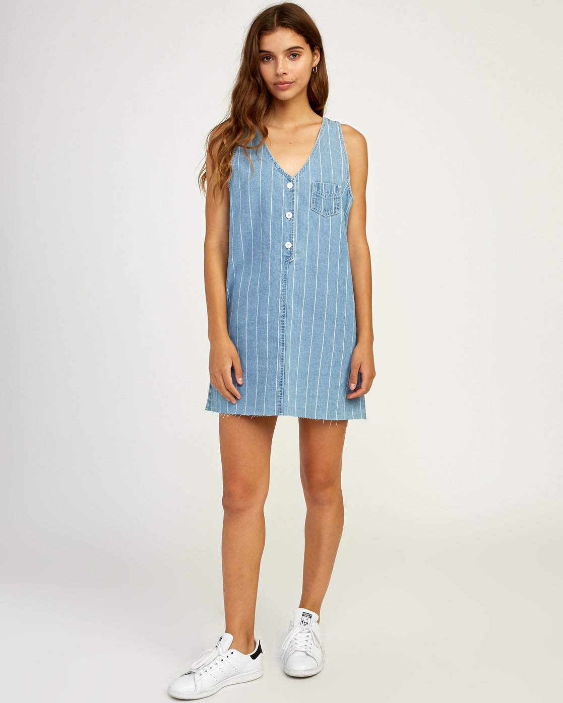 5 Trail It Striped Denim Dress Blue WD18TRTI RVCA