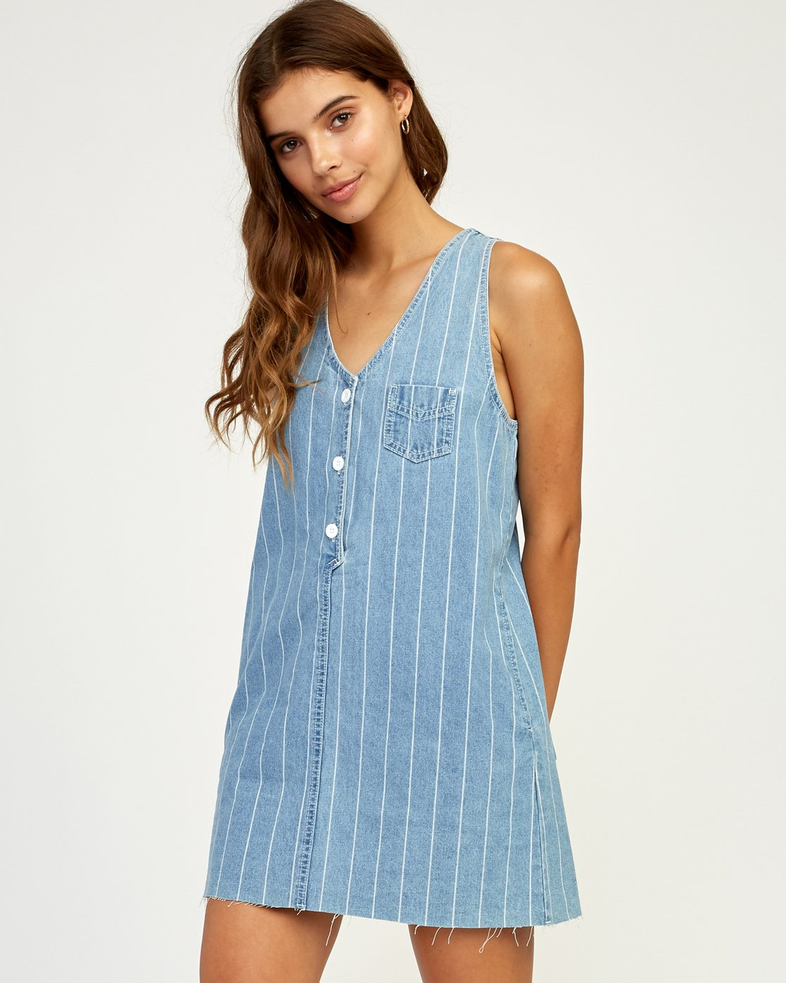 2 Trail It Striped Denim Dress Blue WD18TRTI RVCA