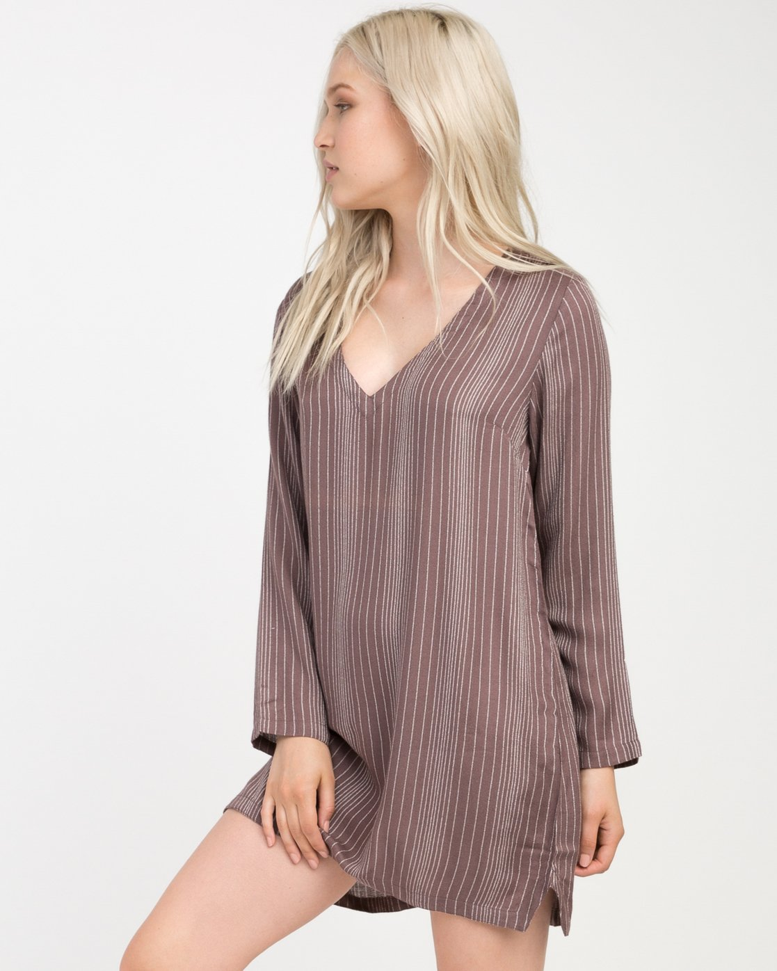 1 Foxy Lady Striped Shirt Dress  WD20NRFO RVCA
