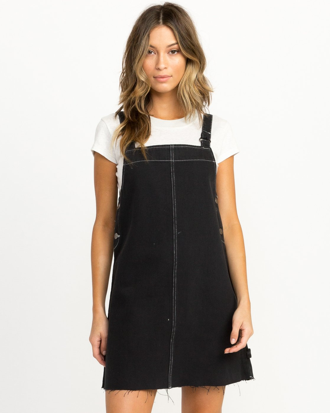 0 Neo Pinny Denim Overall Dress Black WD20QRNE RVCA