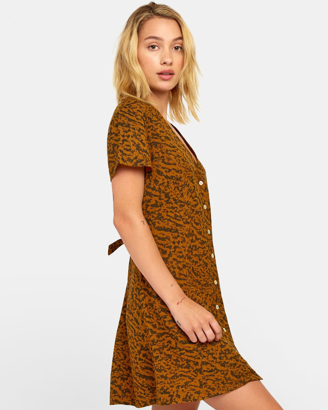 4 GUILT BUTTON-UP DRESS Brown WD20WRGU RVCA