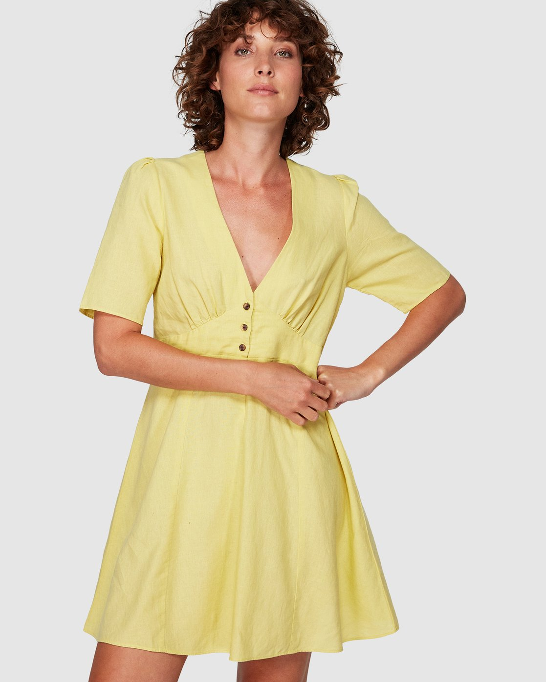 0 Lemon Crane Dress Yellow WD82WRLC RVCA