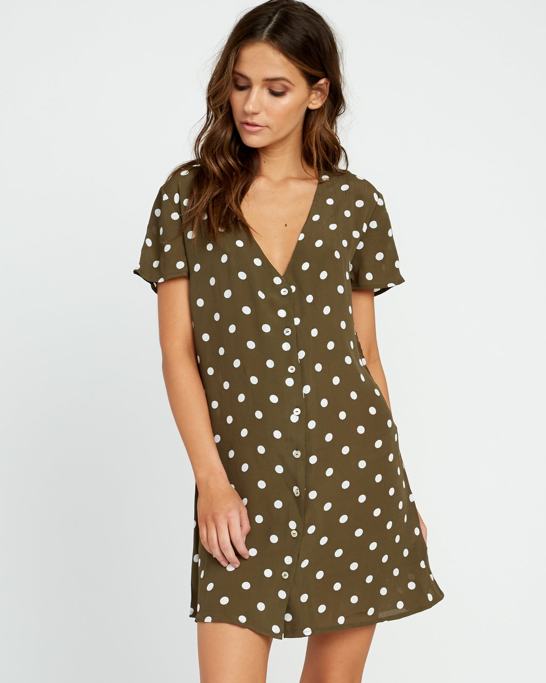 1 Benji Button-Up Dress Green WD90TRBD RVCA