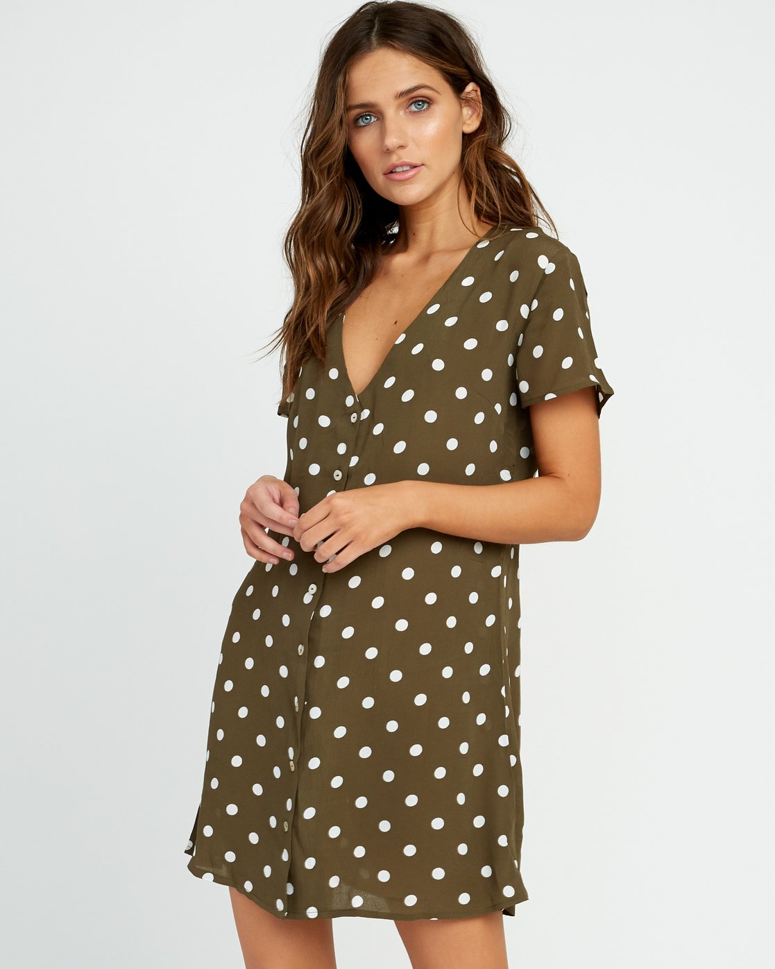 2 Benji Button-Up Dress Green WD90TRBD RVCA