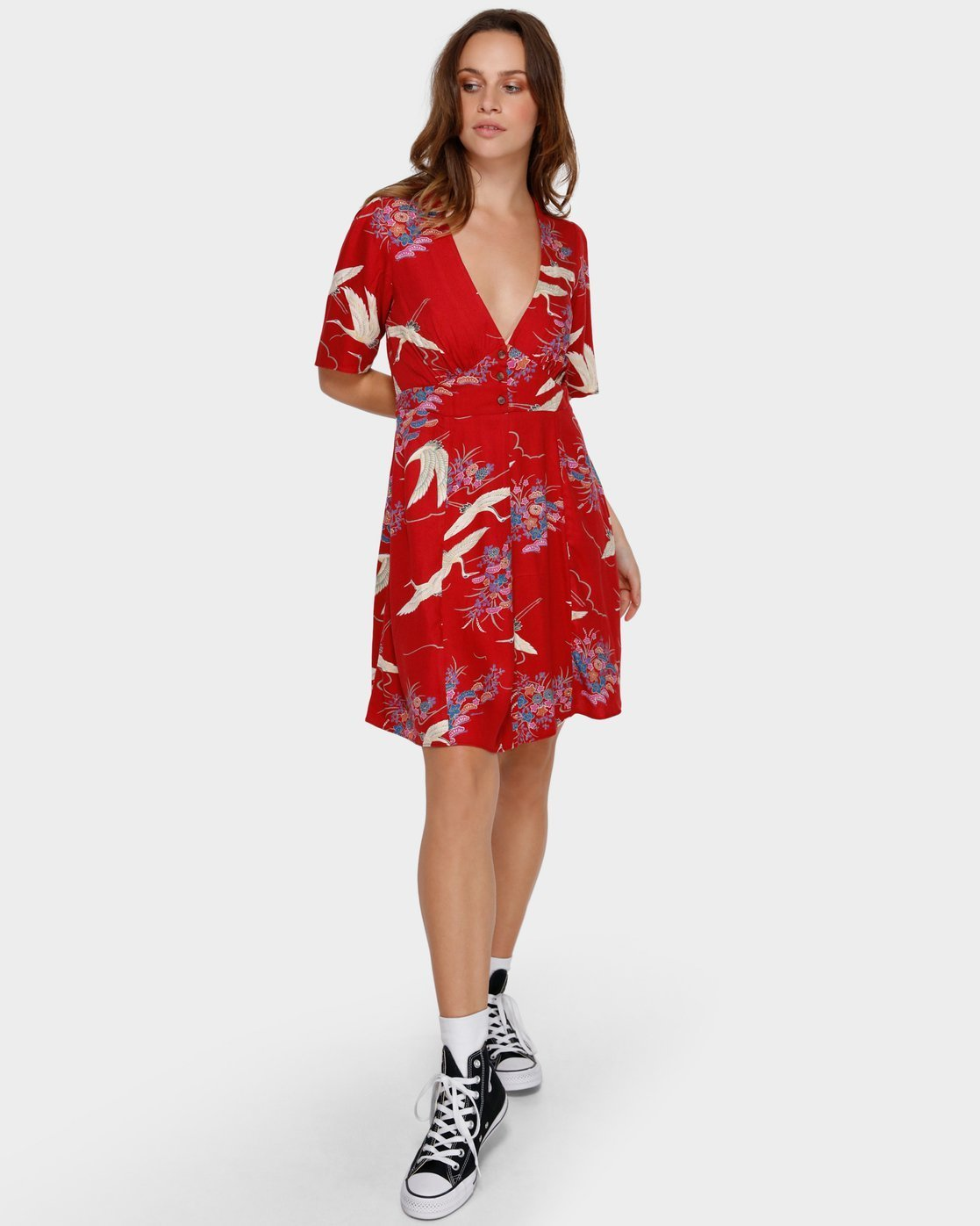 3 Cranes Dress Red WD92VRCR RVCA