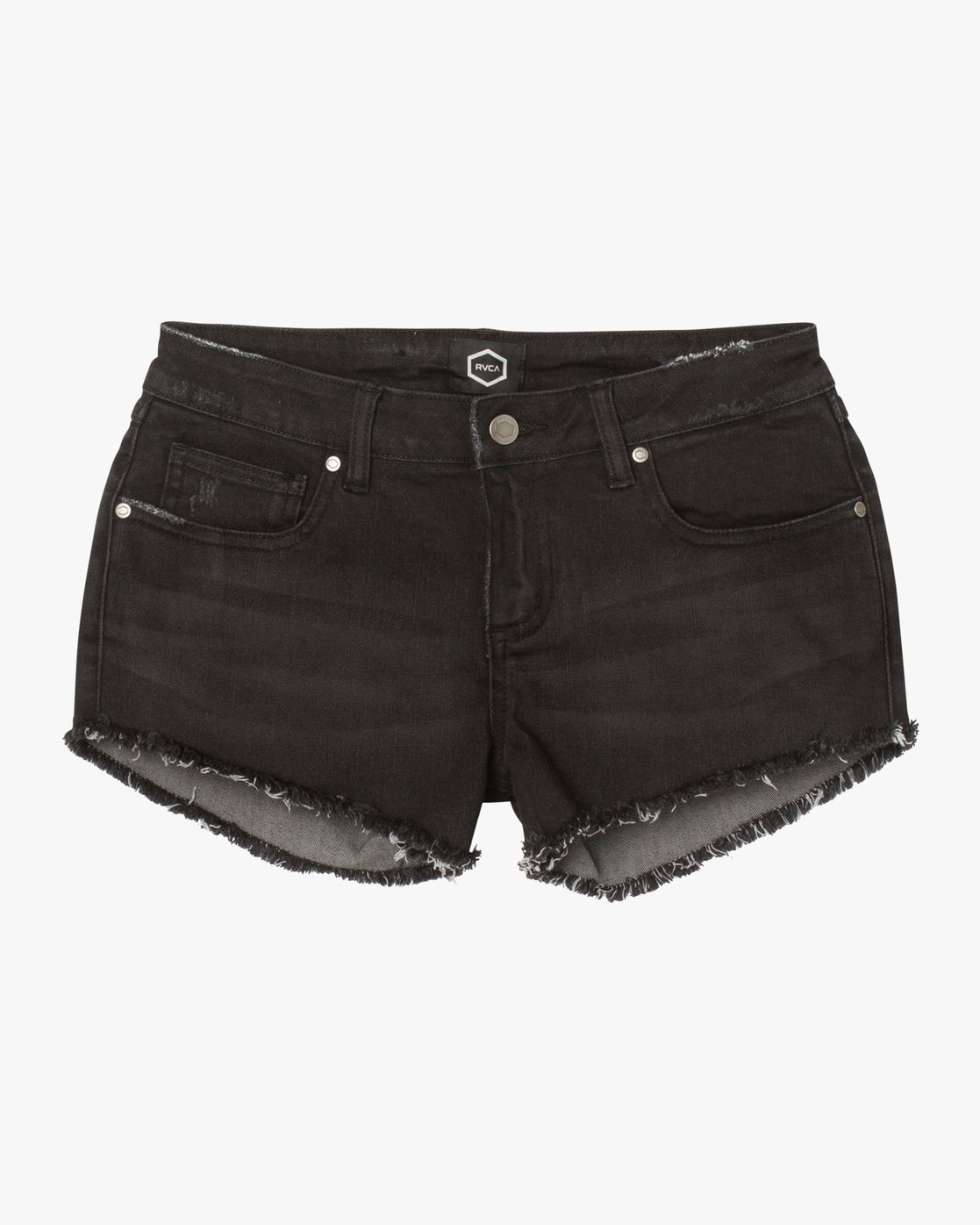 7 Hello Mellow Denim Cutoff Shorts Black WF206HEL RVCA