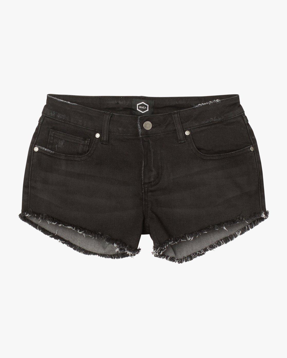 7 Hello Mellow Denim Cutoff Shorts Black WF206HEL RVCA