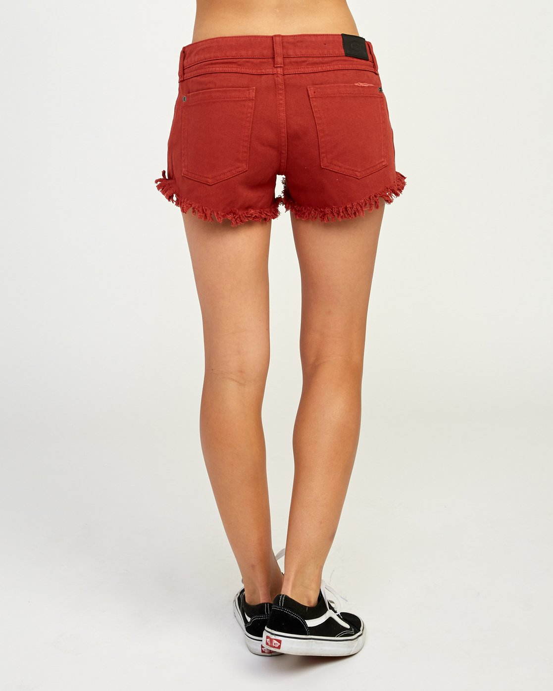 3 Hello Mellow Denim Cutoff Shorts Red WF206HEL RVCA