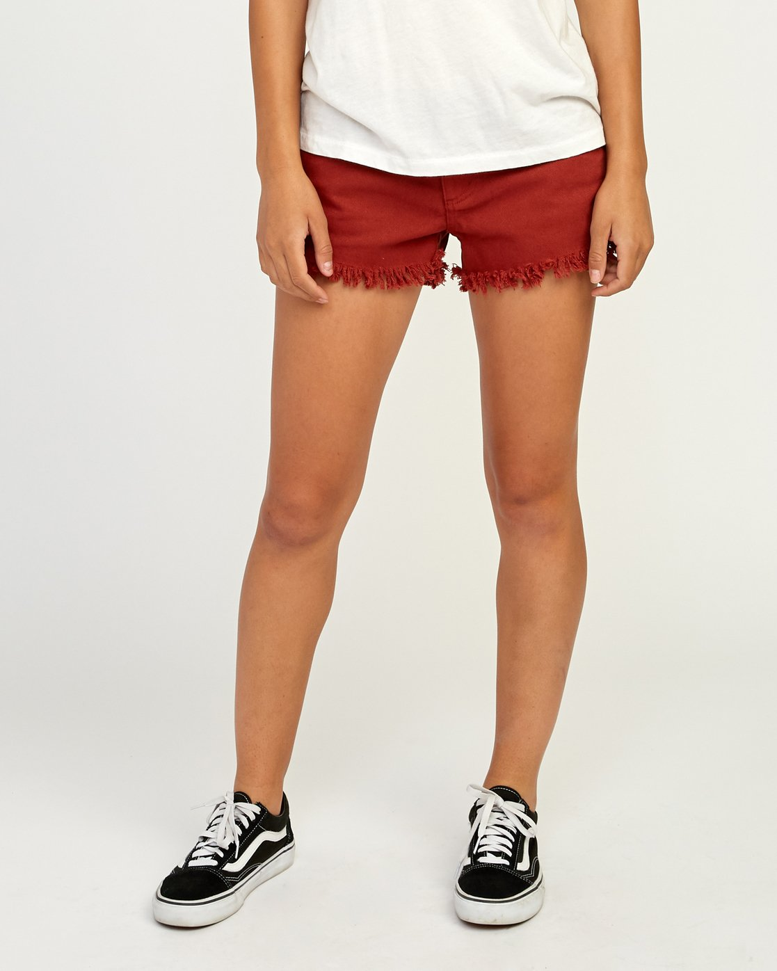 0 Hello Mellow Denim Cutoff Shorts Red WF206HEL RVCA