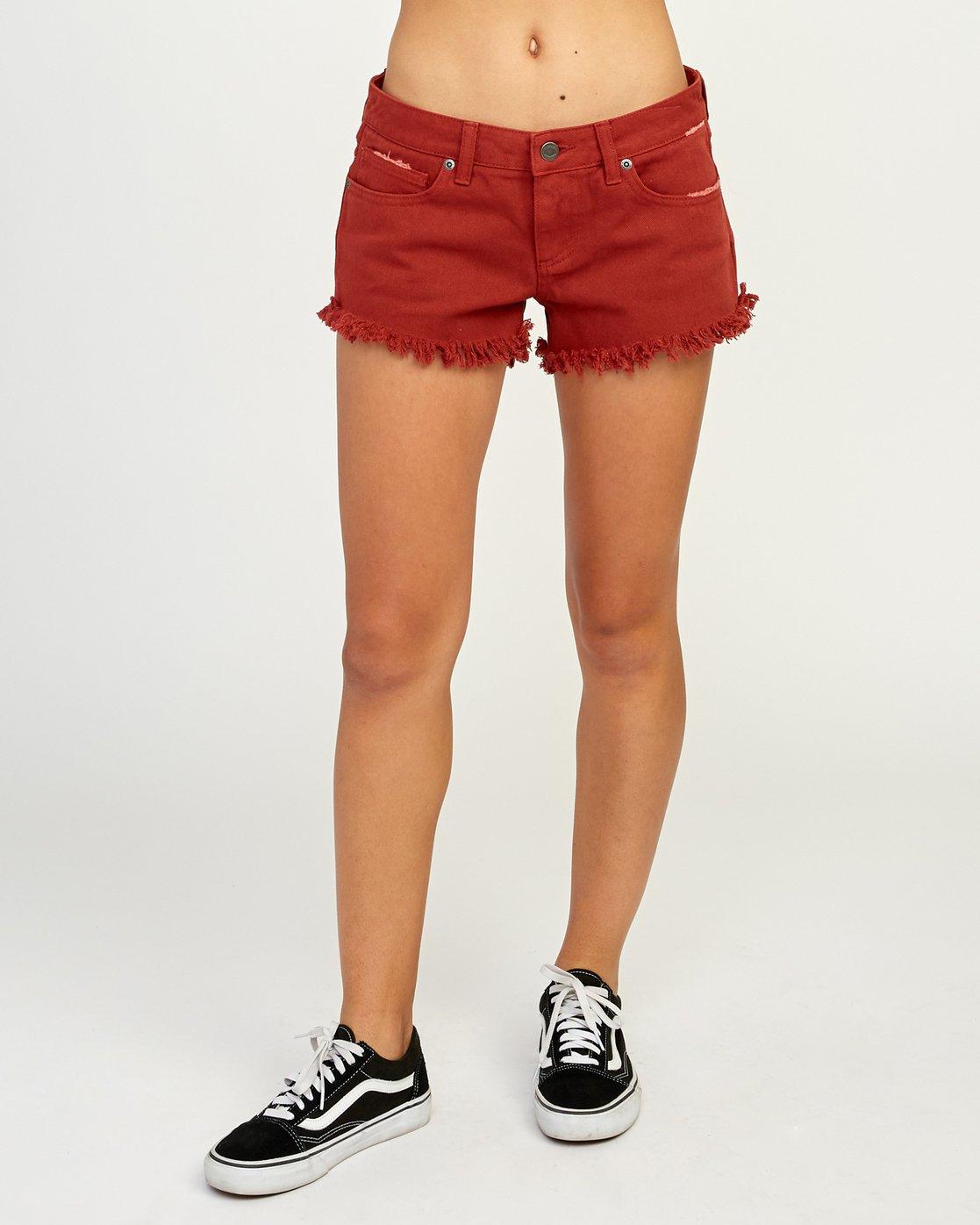 1 Hello Mellow Denim Cutoff Shorts Red WF206HEL RVCA
