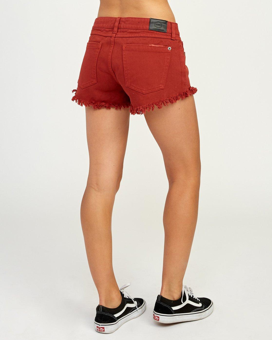 3 Hello Mellow Denim Cutoff Shorts Red WF206HEL RVCA