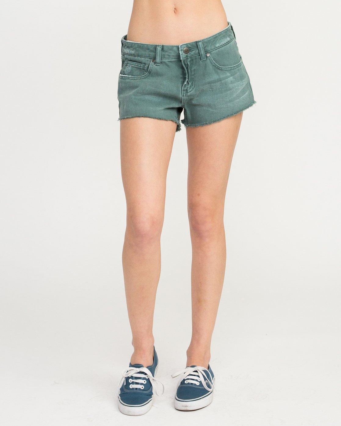 1 Hello Mellow Denim Cutoff Shorts Green WF206HEL RVCA