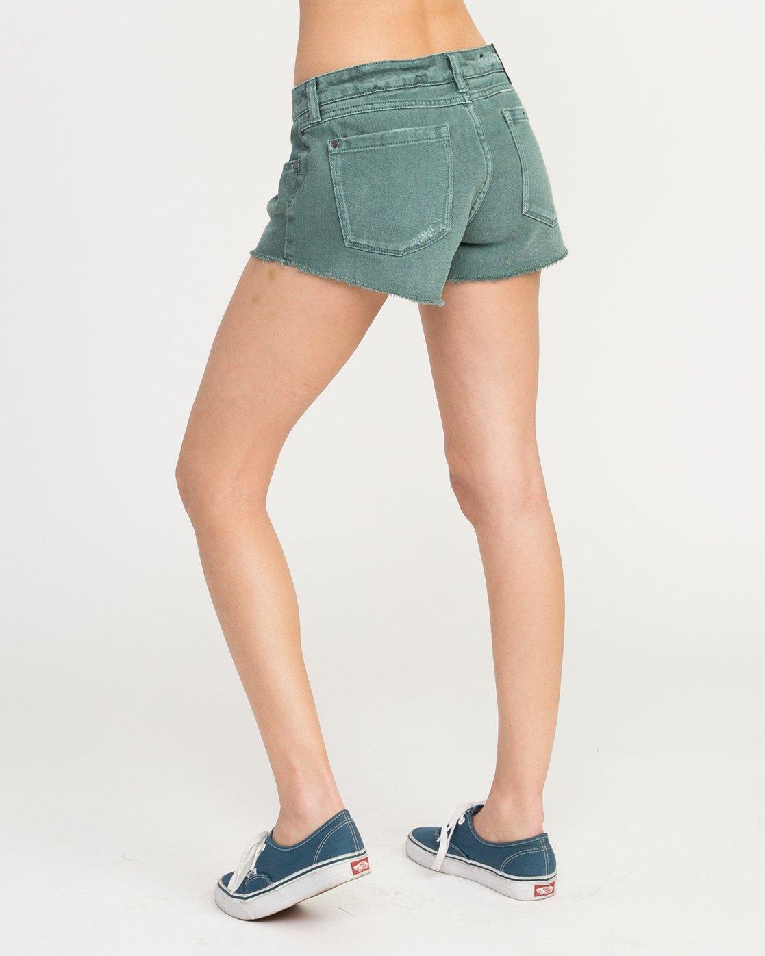3 Hello Mellow Denim Cutoff Shorts Green WF206HEL RVCA