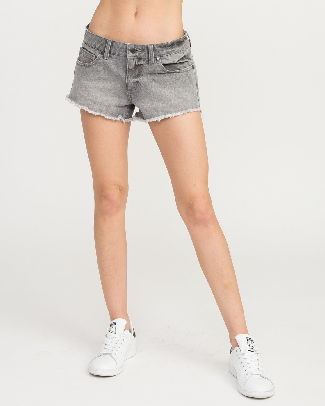 0 Hello Mellow Denim Cutoff Shorts Grey WF206HEL RVCA