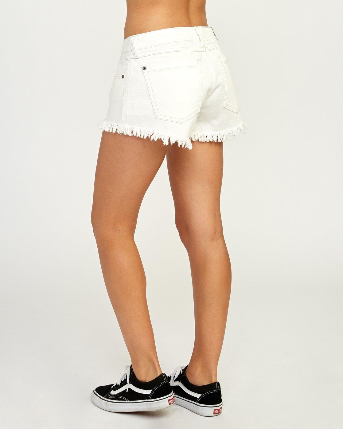 3 Hello Mellow Denim Cutoff Shorts White WF206HEL RVCA