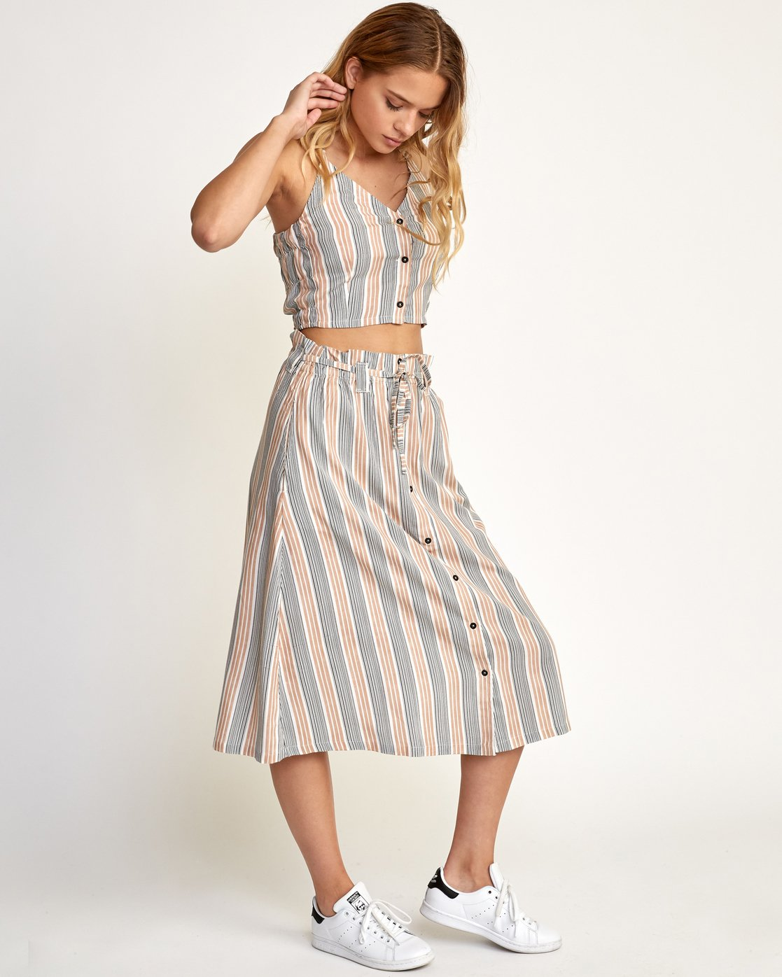 5 Oslo Striped Midi Skirt Beige WK01TROS RVCA