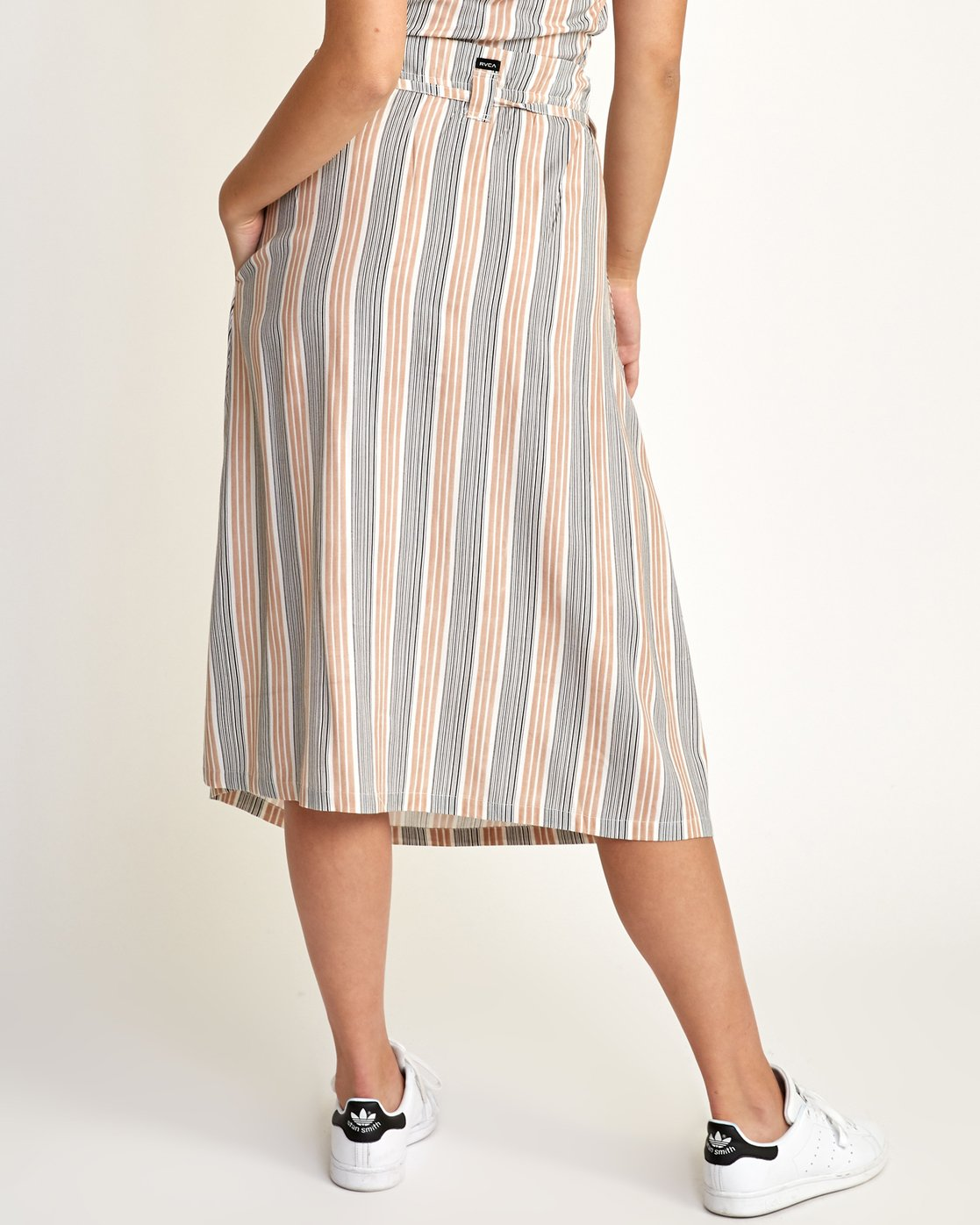 3 Oslo Striped Midi Skirt Beige WK01TROS RVCA