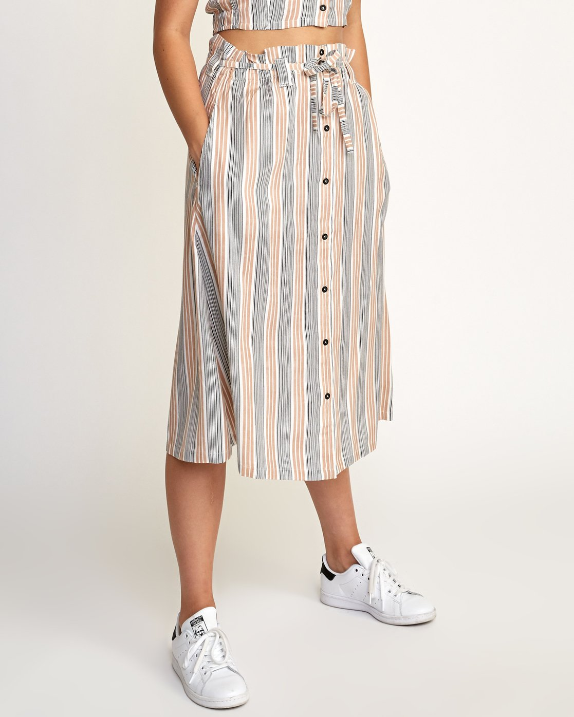 4 Oslo Striped Midi Skirt Beige WK01TROS RVCA