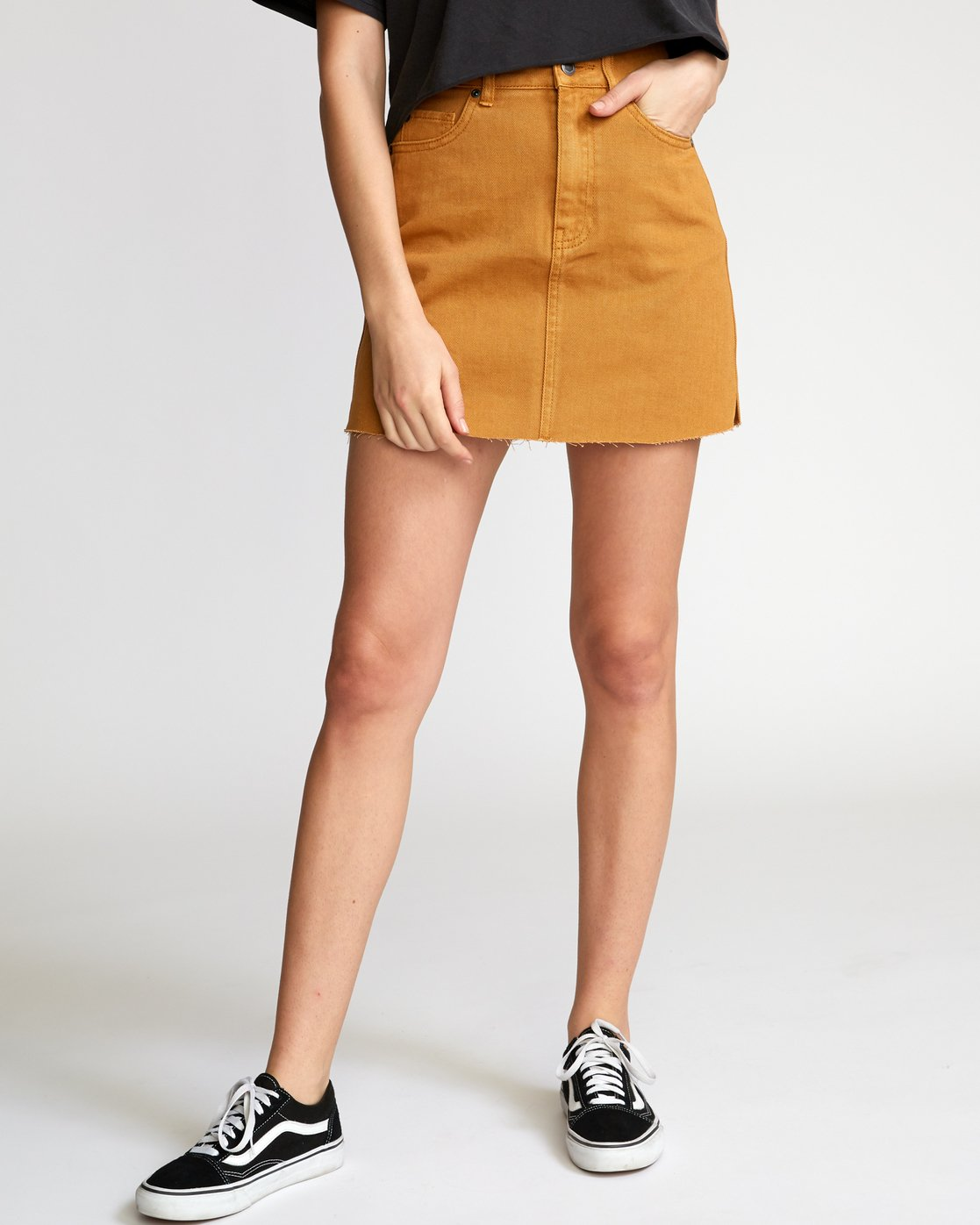 0 Rowdy Denim Mini Skirt Orange WK01VRRM RVCA