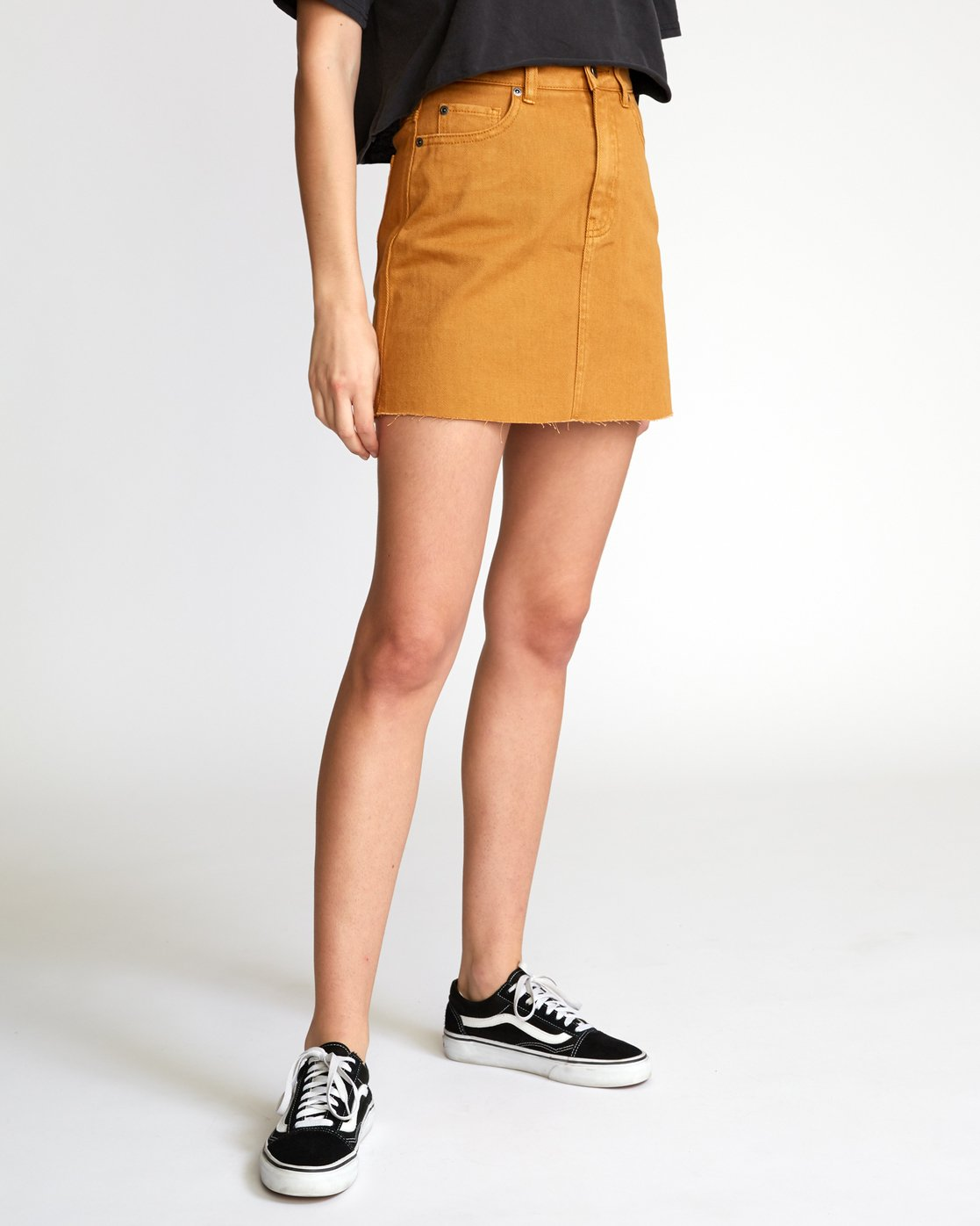 4 Rowdy Denim Mini Skirt Brown WK01VRRM RVCA