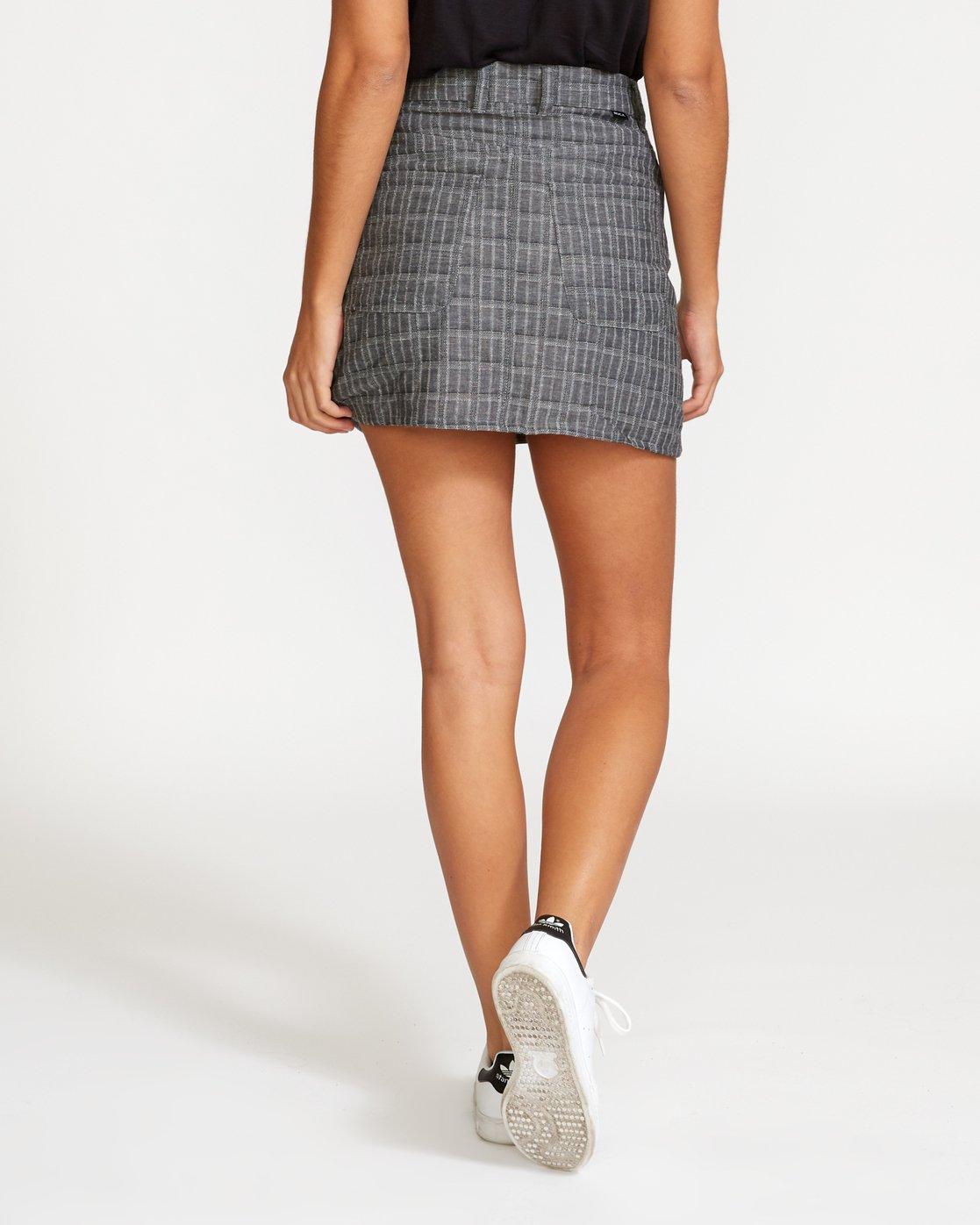 3 Rowdy Plaid Denim Mini Skirt Grey WK01VRRP RVCA