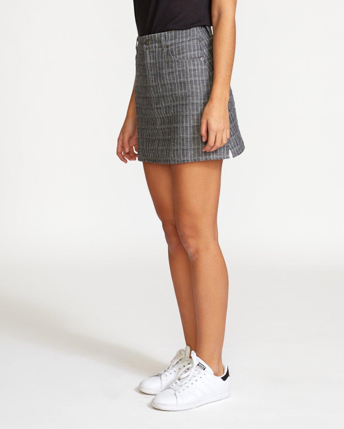 1 Rowdy Plaid Denim Mini Skirt Grey WK01VRRP RVCA