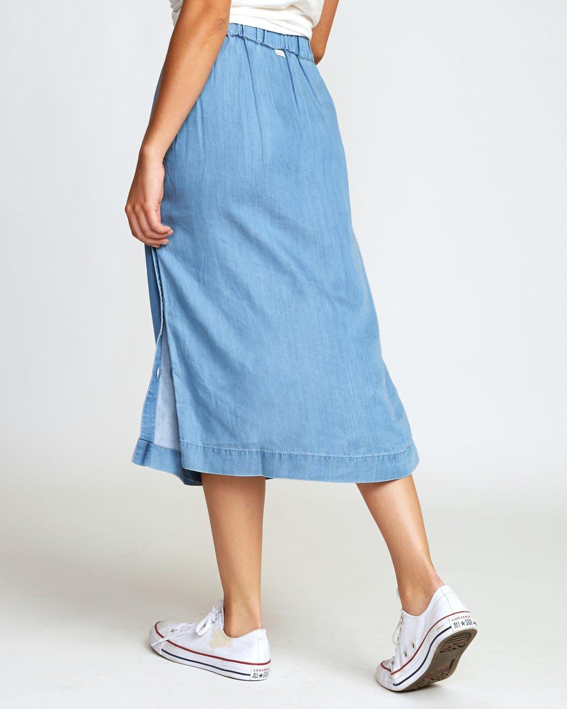 3 Jinn Woven Midi Skirt Blue WK01WRJI RVCA