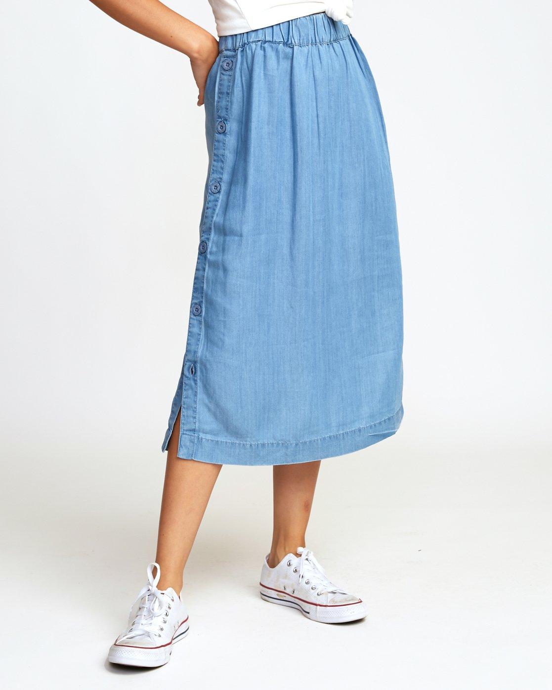 1 Jinn Woven Midi Skirt Blue WK01WRJI RVCA