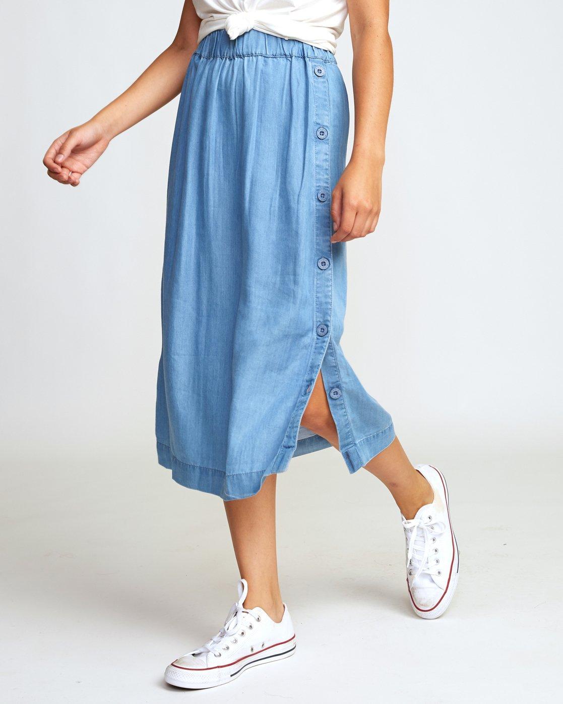 2 Jinn Woven Midi Skirt Blue WK01WRJI RVCA