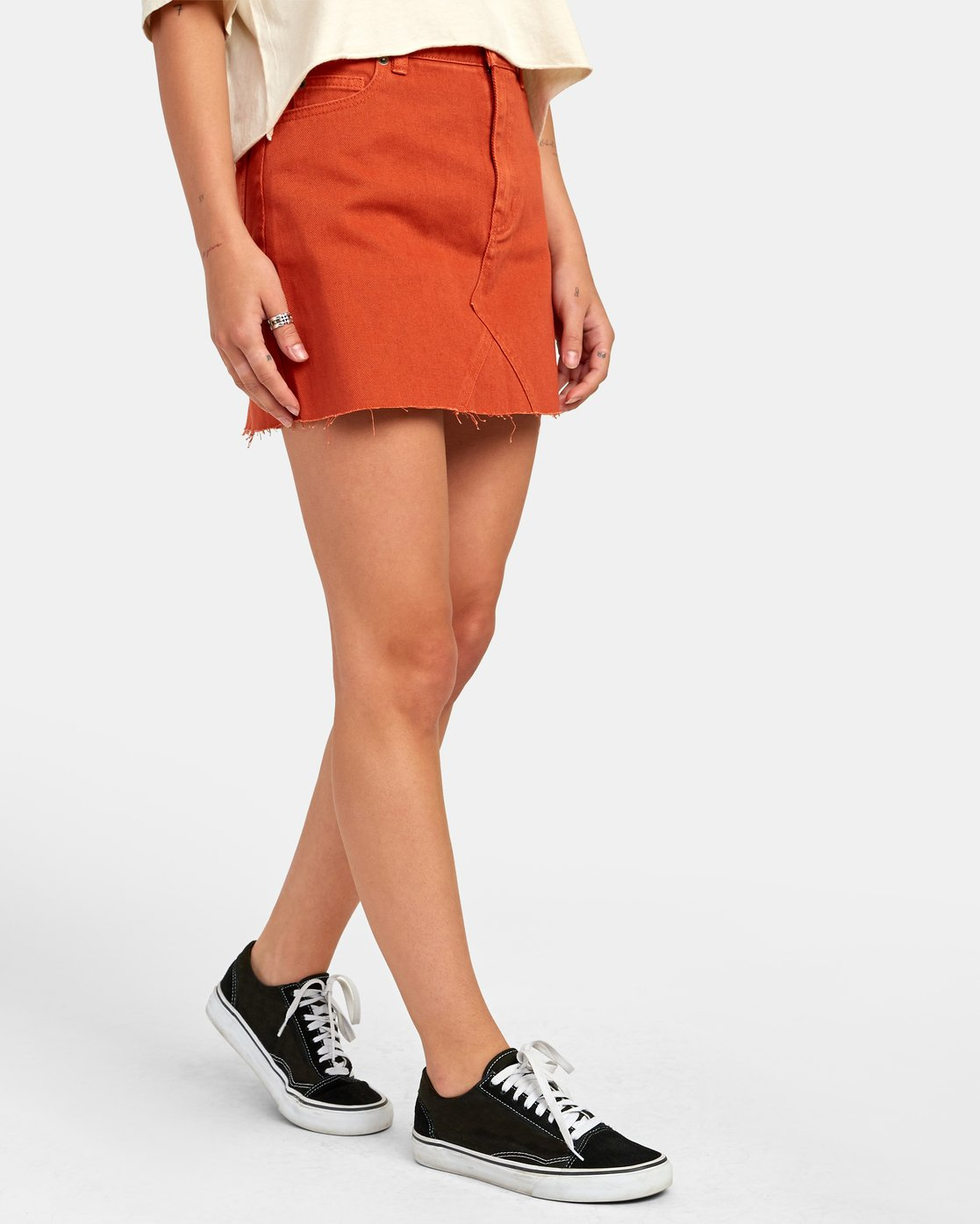 2 SIENA HIGH RISE DENIM SKIRT Orange WK02VRSI RVCA