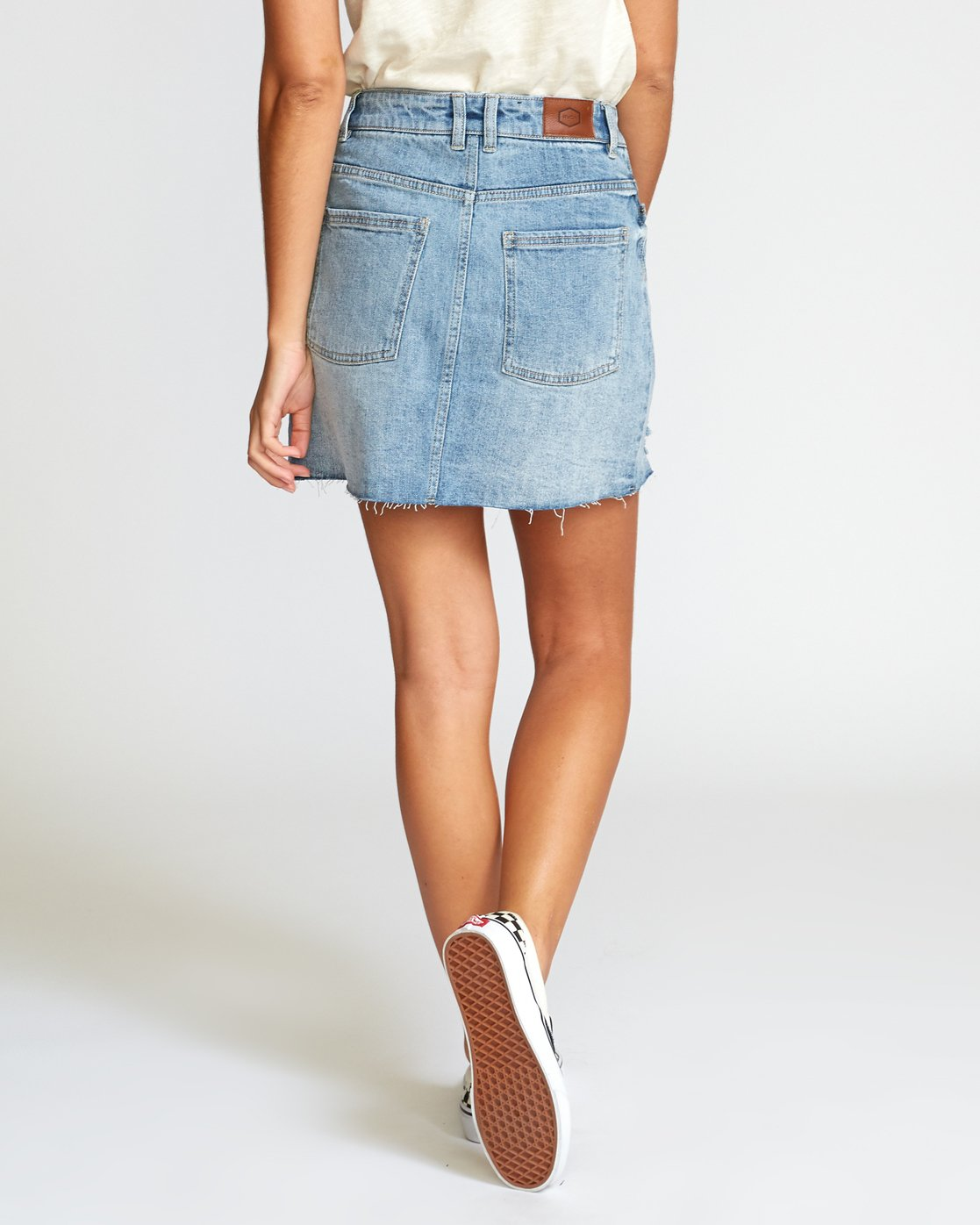 3 Siena High Rise Denim Skirt Grey WK02VRSI RVCA