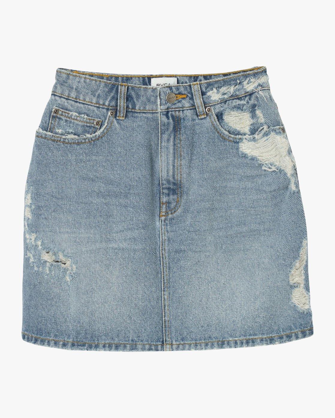 7 Jolt High Waist Denim Skirt Blue WK06QRJO RVCA