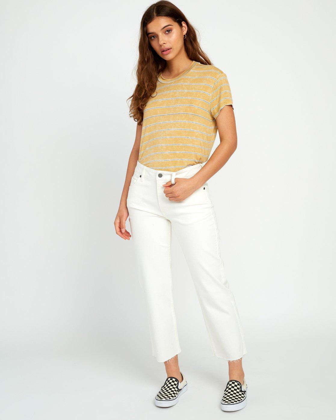 4 Recess Striped Knit T-Shirt Yellow WK905REC RVCA