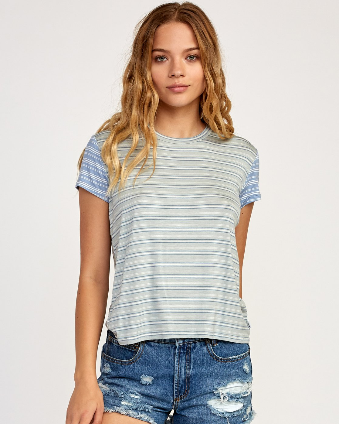 0 Recess Striped Knit T-Shirt Blue WK905REC RVCA