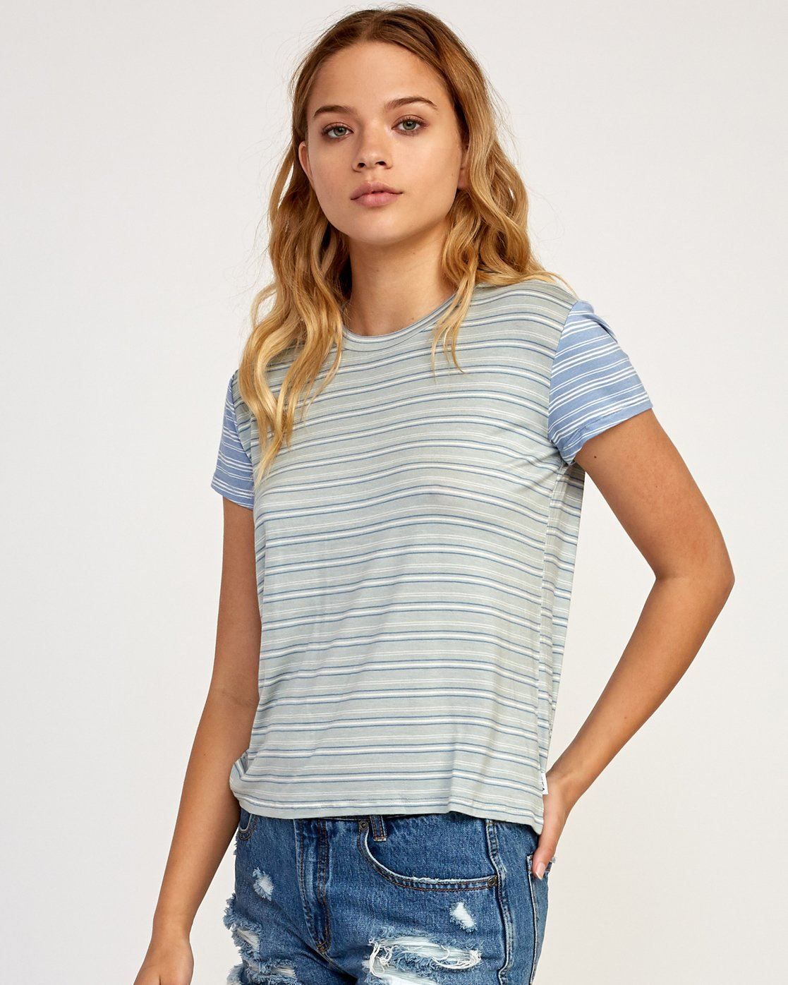1 Recess Striped Knit T-Shirt Blue WK905REC RVCA