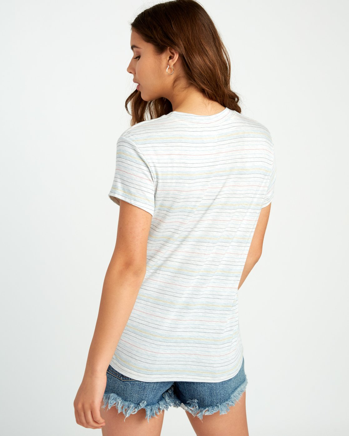 3 Recess Striped Knit T-Shirt White WK905REC RVCA